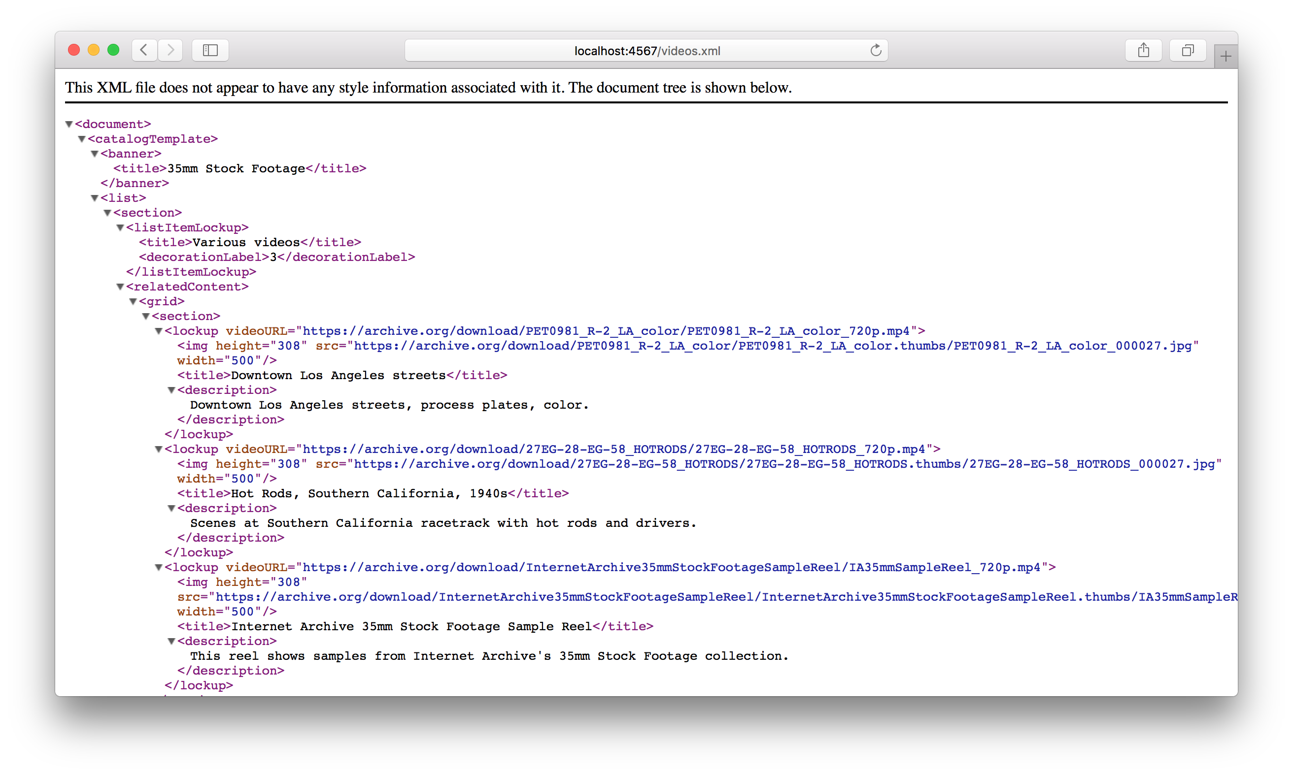 videos.xml in Safari