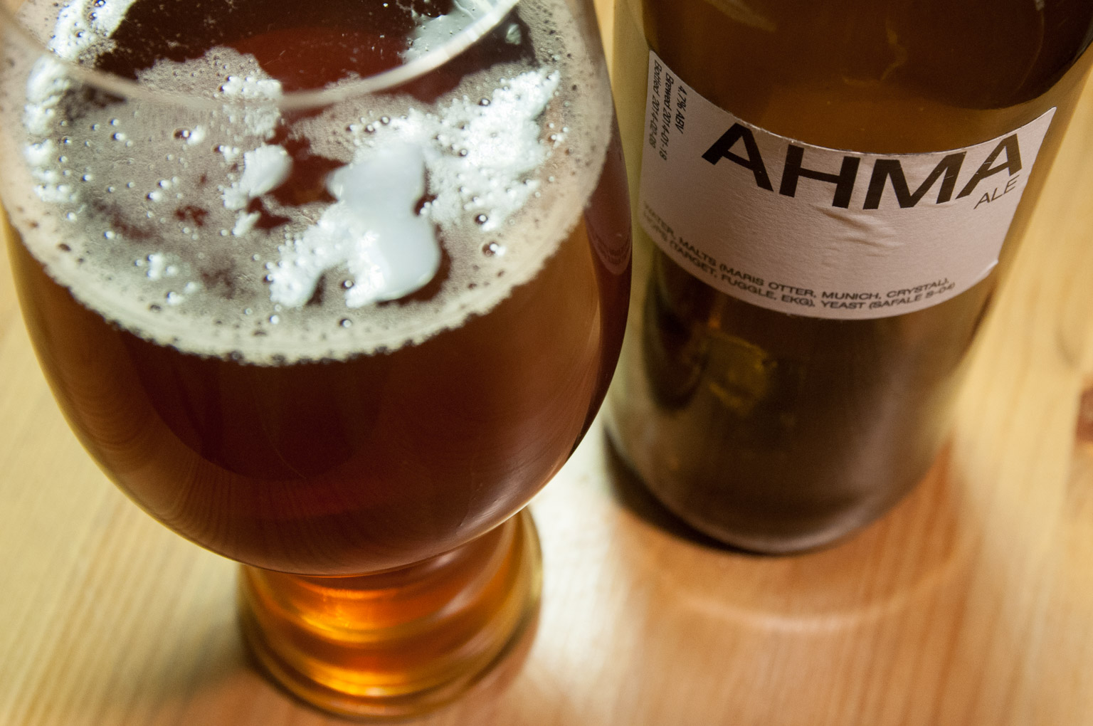 Ahma Ale bottle and glass